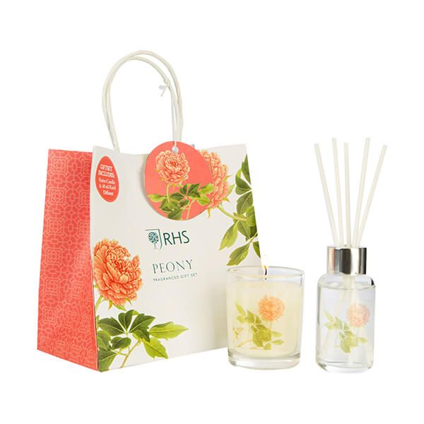 Wax Lyrical RHS Fragrant Garden Peony Candle & Reed Diffuser Gift Set