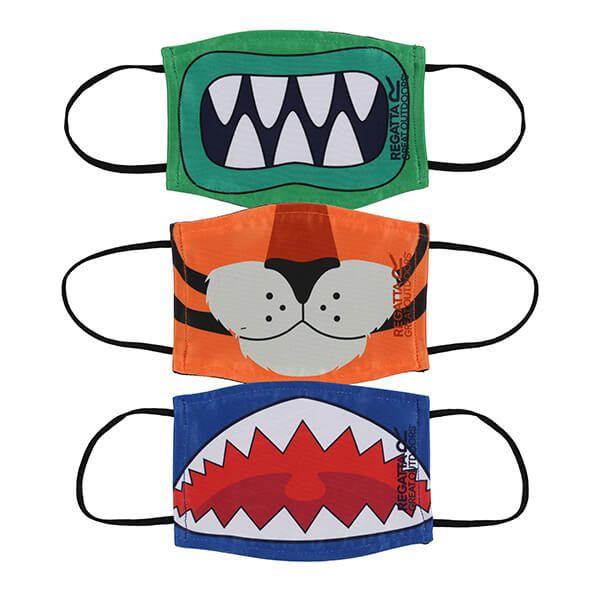 Regatta Pack of Three Kids Face Masks - Monster Mouth, Jaffa Orange Tiger and Nautical Blue Shark