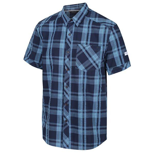 Regatta Men's Deakin III Short Sleeve Checked Shirt Navy Check Size XXL