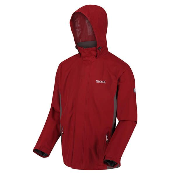 Regatta Men's Matt Lightweight Waterproof Jacket With Concealed Hood Delhi Red Magnet Grey