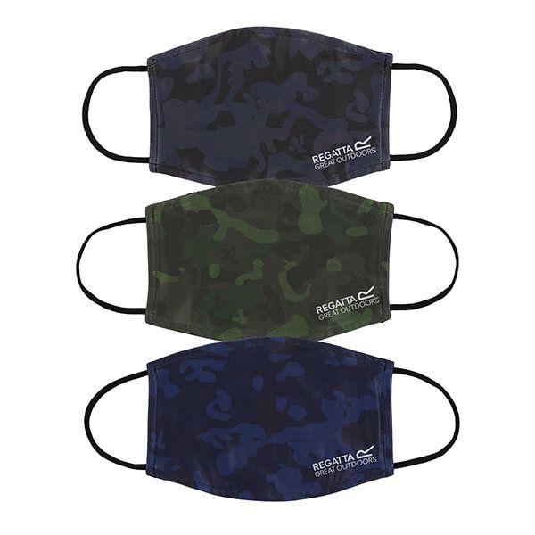 Regatta Pack of Three Adult Face Masks - Dark Khaki Camo, Navy Camo and Black Camo