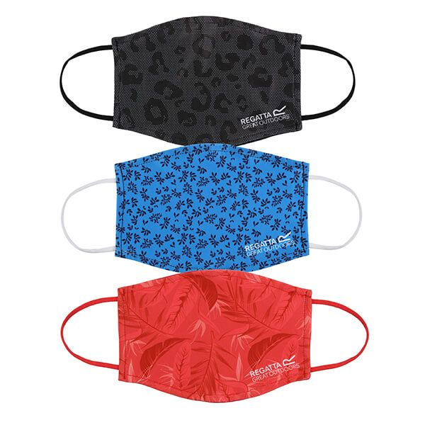 Regatta Pack of Three Adult Face Masks - Red Sky Tropical, Black Dotty Leopard and Blue Aster Falling Leaves