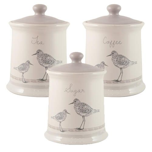 English Tableware Company Sandpiper Tea, Coffee & Sugar Canister 3 Piece Set