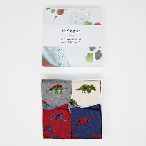 Thought Multi Extinct Bamboo Organic Cotton Blend 4 Pack Kids Socks Gift Box