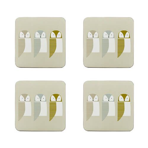 Scion Living Barnie Owl Set Of 4 Coasters