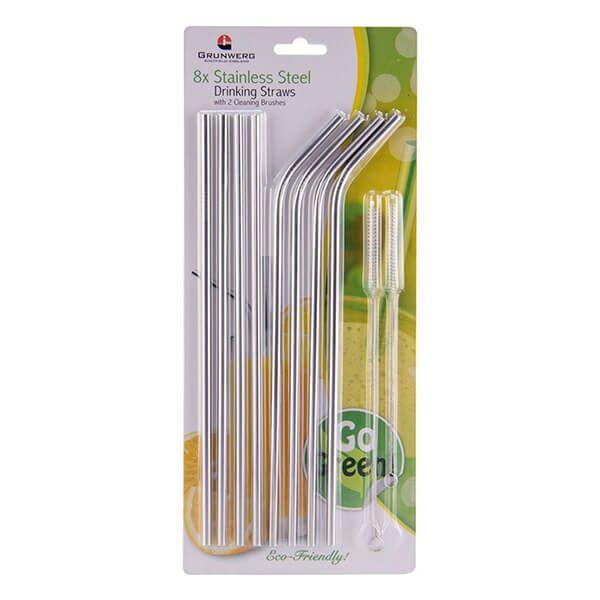 Grunwerg Stainless Steel 10 Piece Straw Set