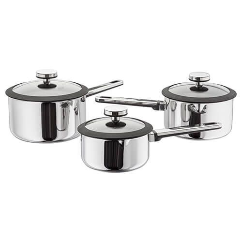 Stellar Stay Cool 3 Piece Draining Saucepan Set