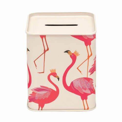 Sara Miller Money Box Flamingo Tin
