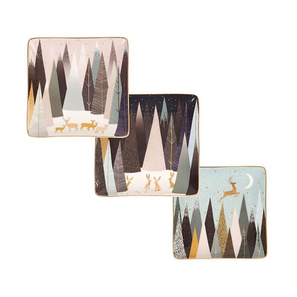 Sara Miller Frosted Pines Collection Set of 3 Square Dishes