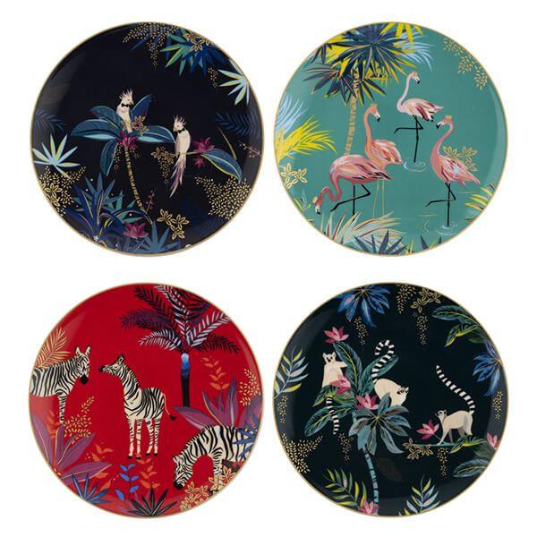 Sara Miller Tahiti Set of 4 Assorted Side Plates