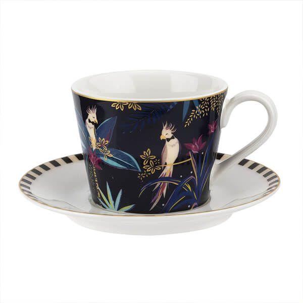 Sara Miller Tahiti Cockatoo Teacup & Saucer