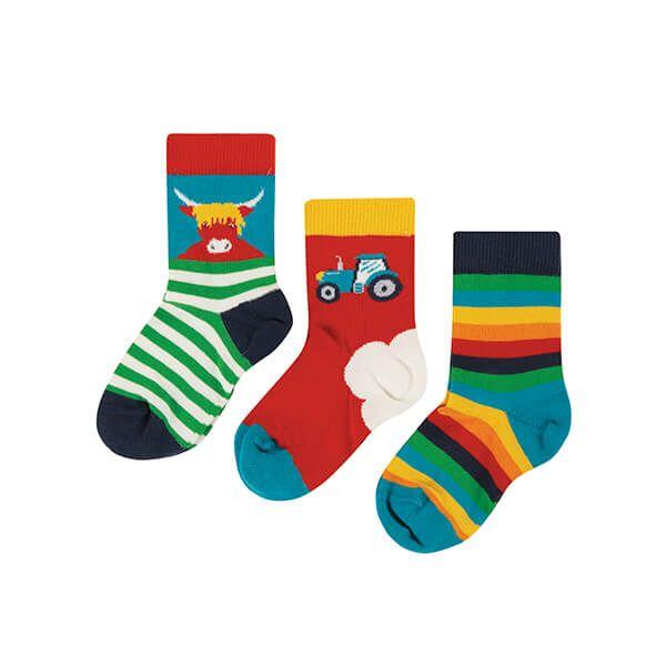 Frugi Organic Tractor 3 Pack of Little Socks