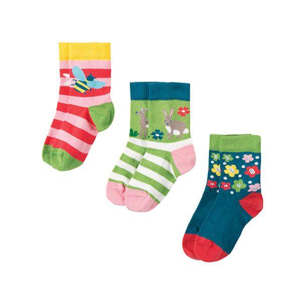 Frugi Organic Little Socks 3 Pack Deer Multipack