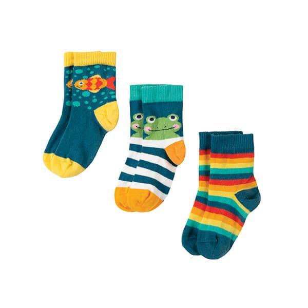 Frugi Organic Little Socks 3 Pack Frog Multipack
