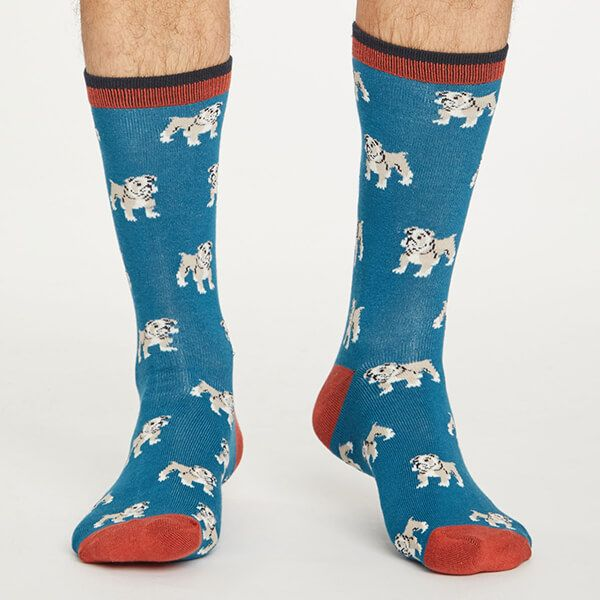 Thought Ink Blue Hound Socks Size 7-11