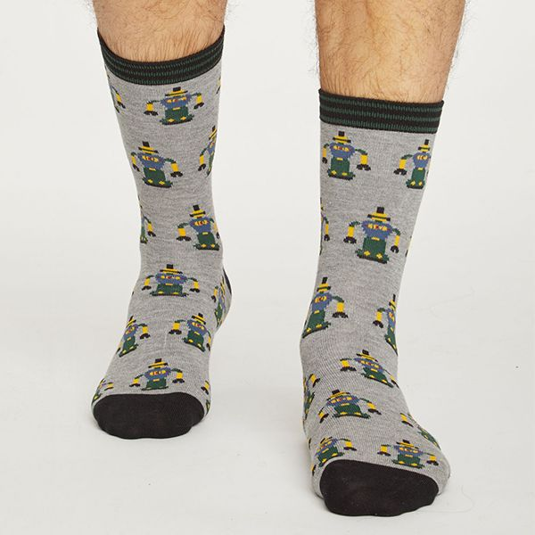 Thought Grey Marle Robot Socks