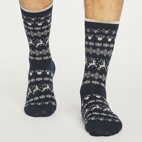 Thought Midnight Blue Reindeer Socks