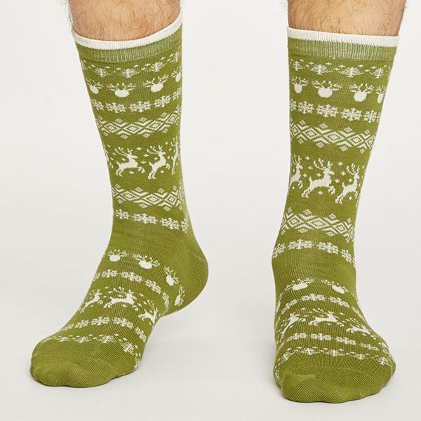 Thought Olive Reindeer Socks