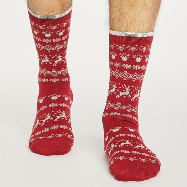 Thought Pillarbox Red Reindeer Socks