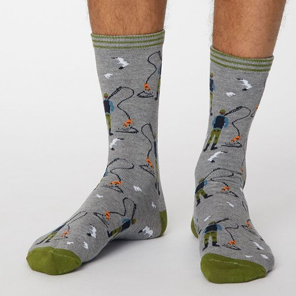 Thought Mid Grey Marle Pesca Socks