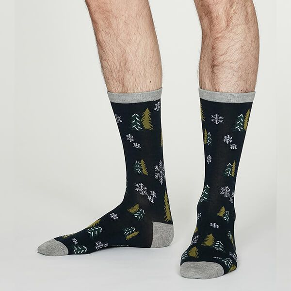 Thought Midnight Navy Timber Socks
