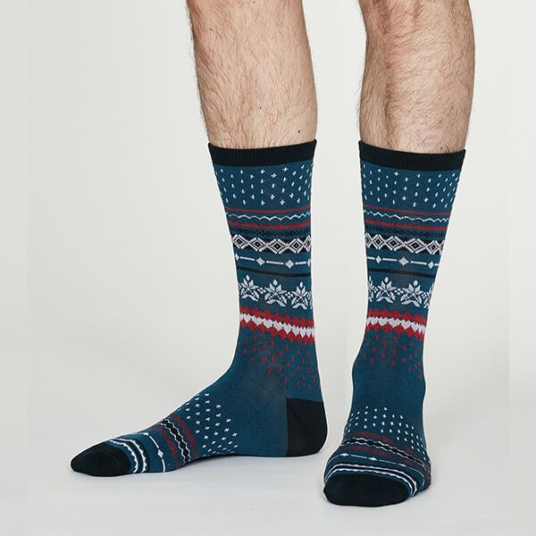 Thought Denim Blue Reginald Bamboo Christmas Pattern Socks