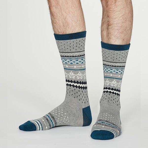 Thought Mid Grey Marle Reginald Bamboo Christmas Pattern Socks