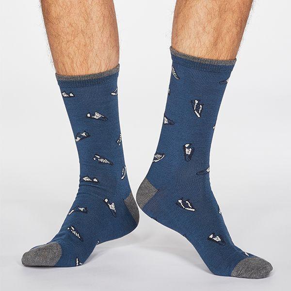 Thought Denim Blue Aiden Sneaker Print Bamboo Organic Cotton Blend Socks
