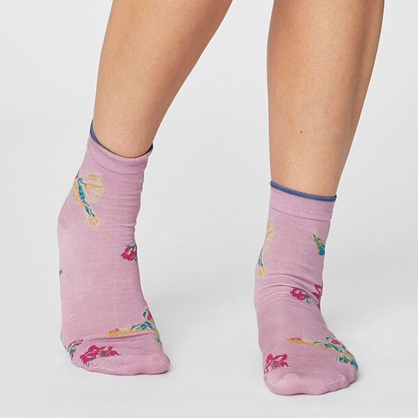 Thought Orchid Pink Birdy Socks Size 4-7