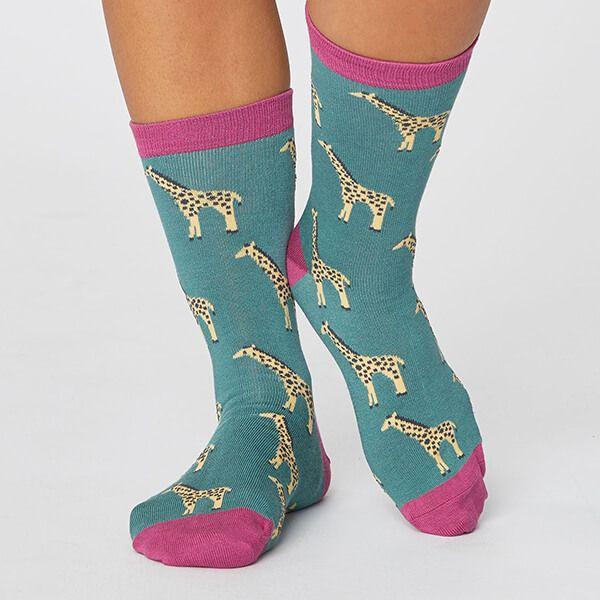 Thought Eucalyptus Safari Wild Animal Sustainable Socks Size 4-7