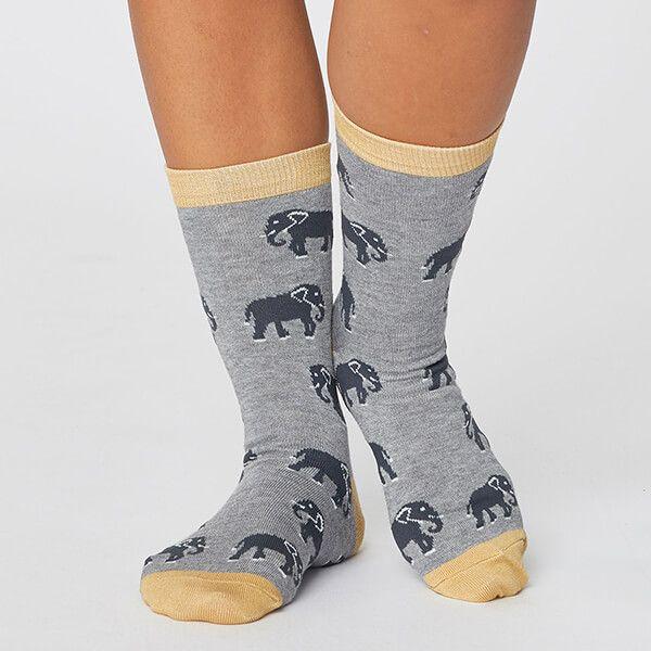 Thought Mid Grey Marle Safari Wild Animal Sustainable Socks Size 4-7