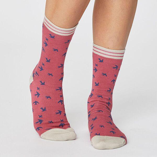 Thought Blush Pink Swallow Bird Socks Size 4-7