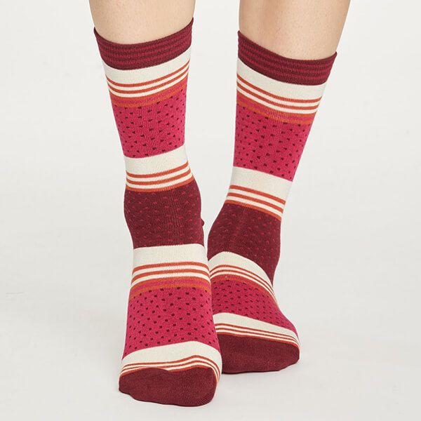Thought Magenta Dotty Stripe Socks Size 4-7
