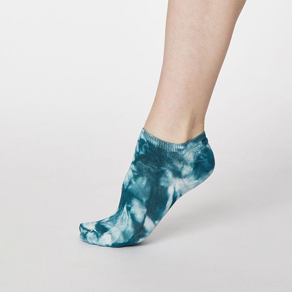 Thought Lagoon Blue Tie Dye Bamboo Trainer Socks