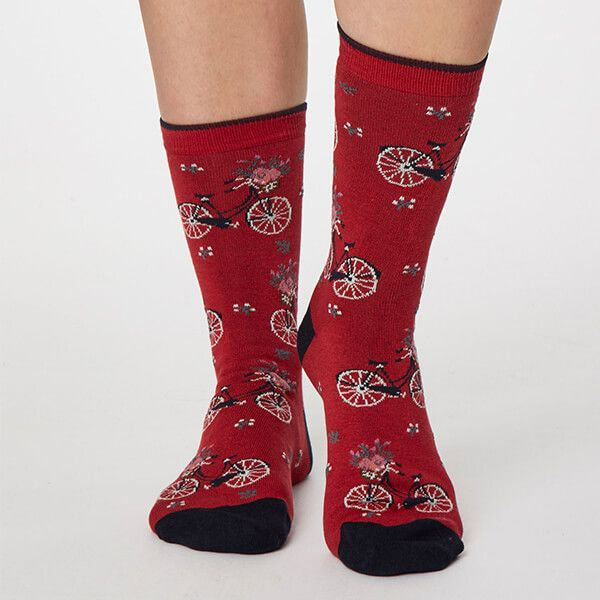 Thought Berry Red Bicicletta Socks