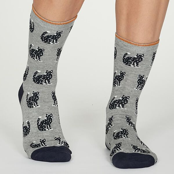 Thought Mid Grey Marle Kitty Socks
