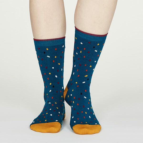 Thought Gem Blue Emme Bamboo Spot Socks