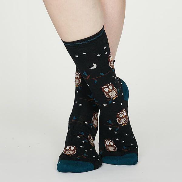 Thought Midnight Blue Night Owl Bamboo Socks