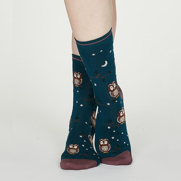 Thought Teal Blue Night Owl Bamboo Socks