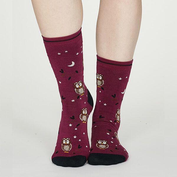 Thought Vivid Magenta Night Owl Bamboo Socks