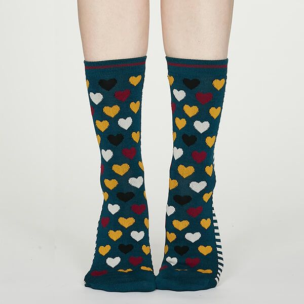 Thought Teal Blue Eileen Heart Bamboo Socks