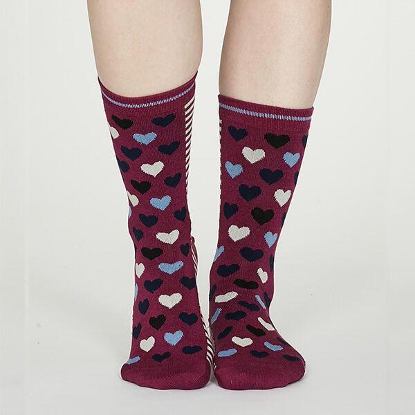 Thought Vivid Magenta Eileen Heart Bamboo Socks