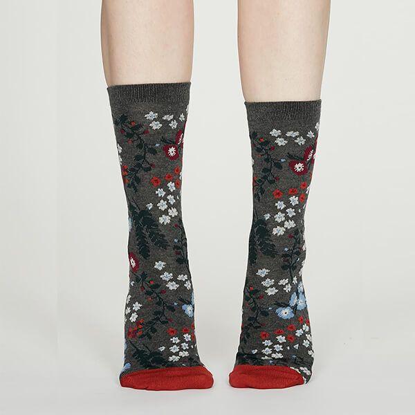 Thought Dark Grey Marle Blossom Bamboo Floral Socks