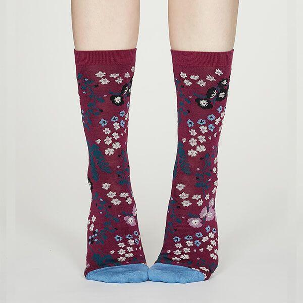 Thought Vivid Magenta Blossom Bamboo Floral Socks