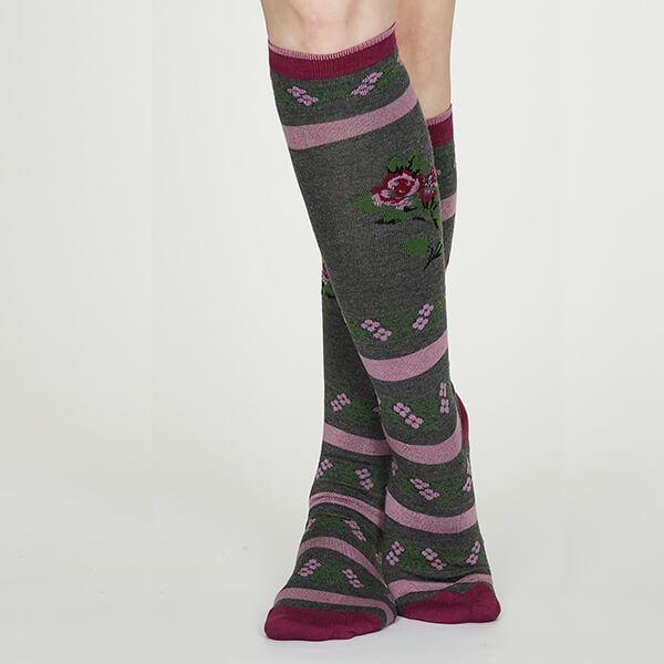 Thought Dark Grey Marle Denise Bamboo Long Floral Socks