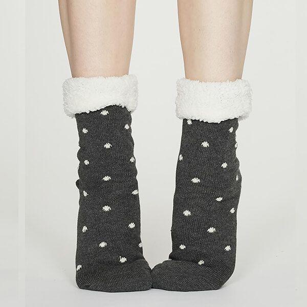 Thought Dark Grey Marle Elizabeth Organic Cotton Cabin Socks