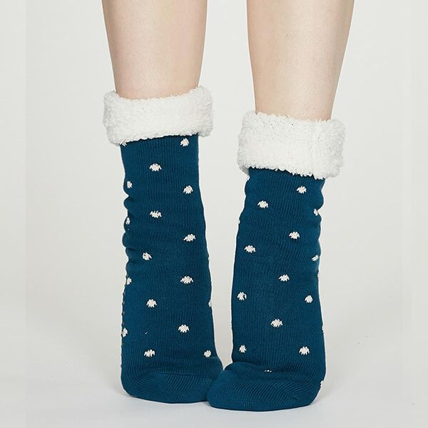 Thought Teal Blue Elizabeth Organic Cotton Cabin Socks