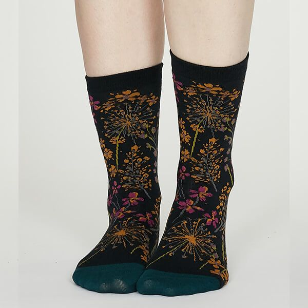 Thought Midnight Blue Amice Organic Cotton Floral Socks