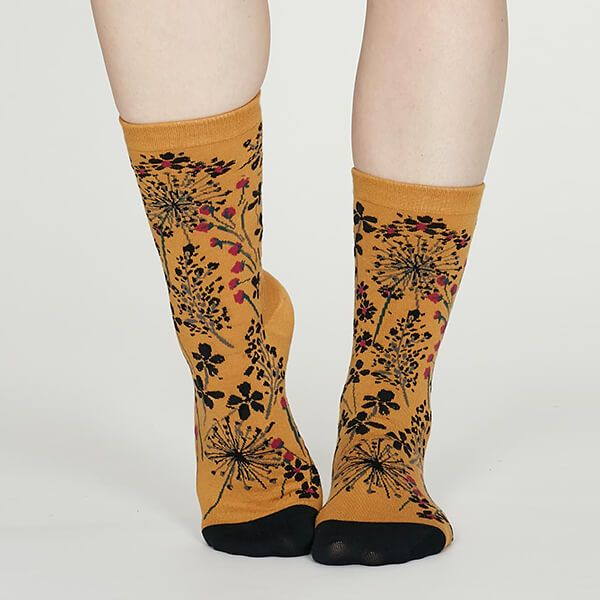 Thought Mustard Amice Organic Cotton Floral Socks
