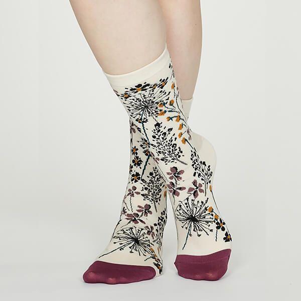 Thought Vanilla Amice Organic Cotton Floral Socks